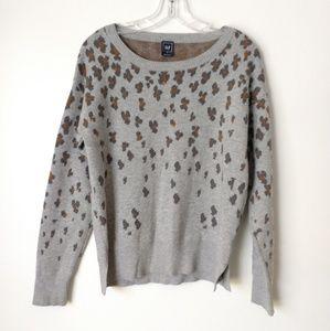 Gap leopard print sweater gray size medium wool